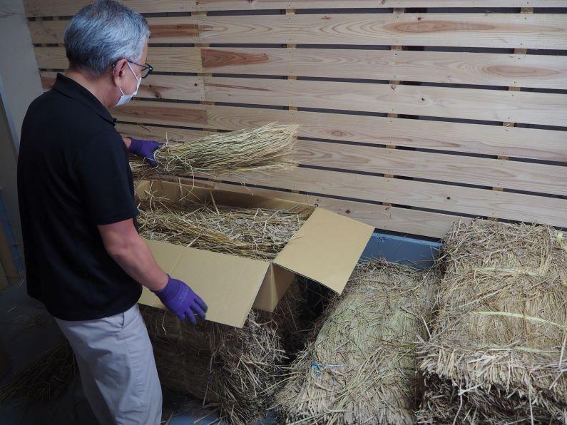 稲わら箱詰め作業